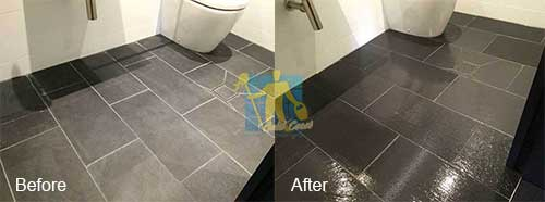 Helensvale bathroom black porcelain tiles before and after cleaning and sealing
