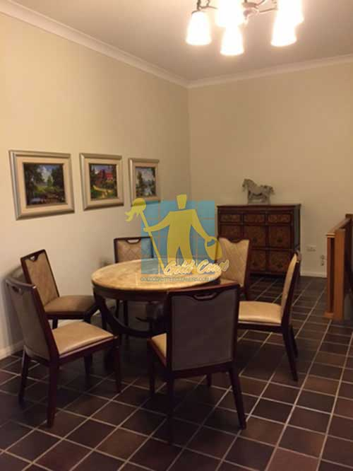 cleaned black marble floor with_ cleaned grout lines