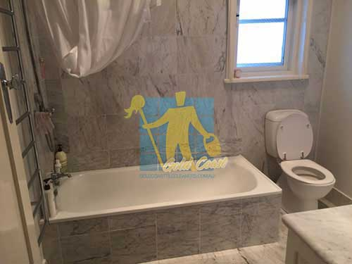 cleaned marble bathroom walls and floor