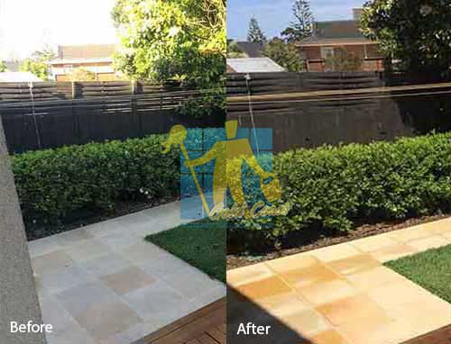 sandstone floor after professional celaining by tilecleaners Gold Coast