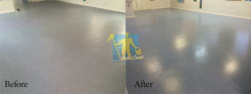 vinyl floor before and after stripping and sealing