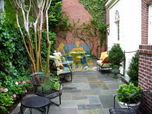 Gold Coast bluestone tiles outdoor backyard with furniture