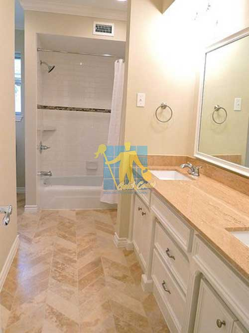 polished travertine bathroom floor Gold Coast