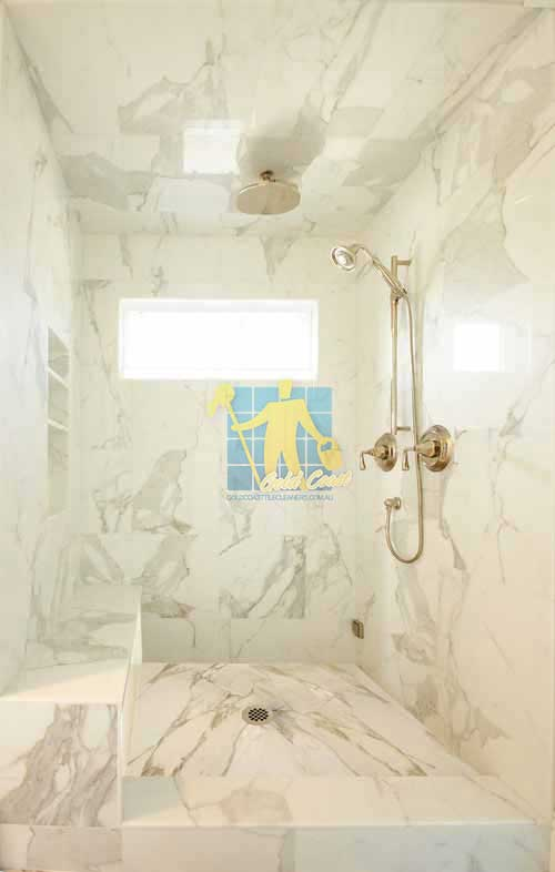 Tile Cleaning Woongoolba marble tiles shower wall floor calcutta polished luxury bathroom after polishing