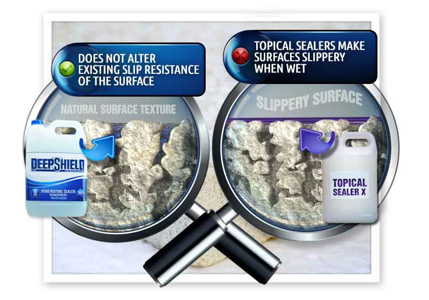 difference between deepshield and topical sealers for hotels grout sealing