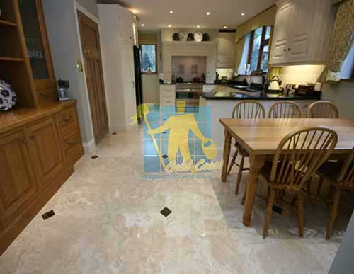 Polished Travertine Stone Tile Floor Kitchen & Dining Sealed Gold Coast